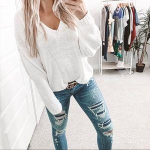 Vintage Oversized Knit V-Neck Sweater White